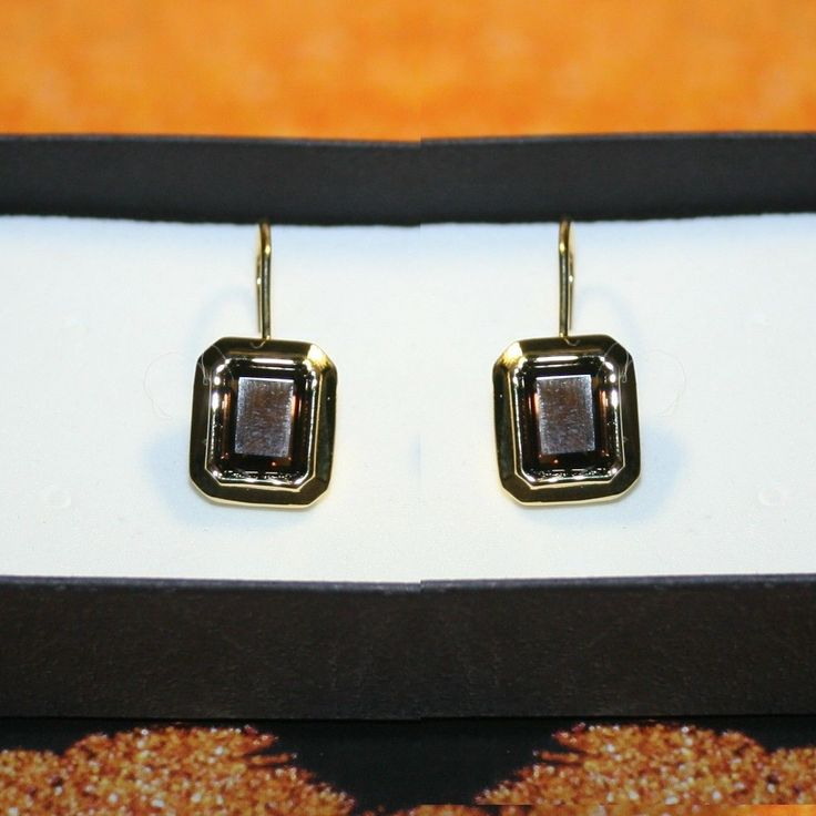 Material: Brown Smoky Quartz. Shape/Cut: Emerald. Color: 14k Yellow gold. Wash gently in warm water. Stone Count: 2. Stone Color: Brown. Style: Drop. Total Stone Weight: 8ct. | eBay!