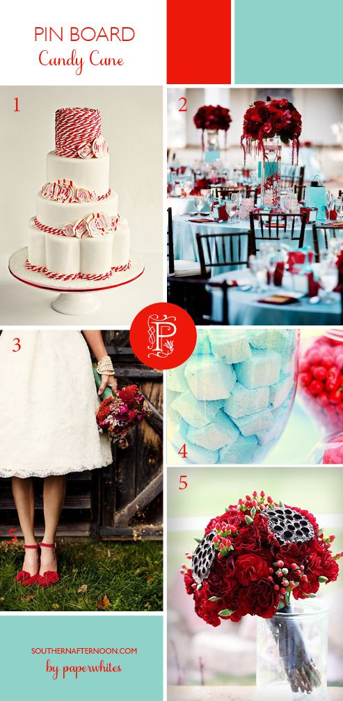 Aqua blue and Christmas Red combine for a bright and cheerful Holiday wedding.  Totally adore the candy cane wedding cake, the colored marshmallows, bridal bouquet, sweet tea length bridal gown and great red shoes