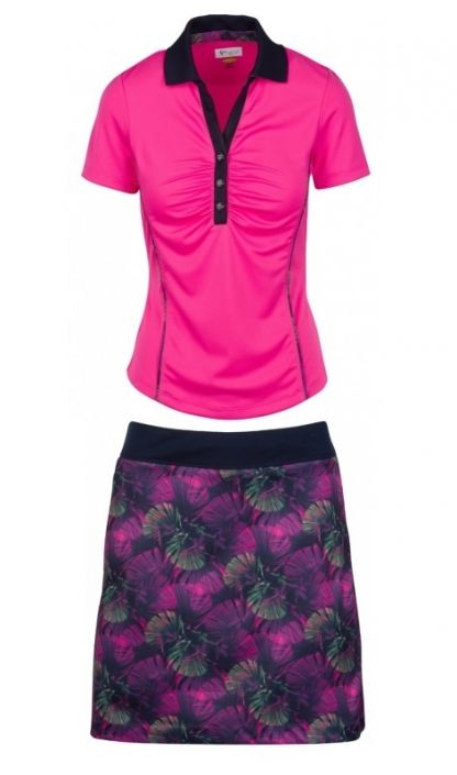 bb41f50bb43 Check out our ROYAL PALM (Pink Taffy Navy) Greg Norman Ladies   Plus Size  Golf Outfits (Shirt   Skort)! Find stylish women golf apparel at   lorisgolfshoppe ...