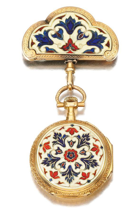 "Lady's Gold And Enamel Pendant Watch Decorated With Polychrome Enamel With An Acanthus Leaf Pattern - Signed ""Henry Capt Geneve""    c. Late 19th Century"
