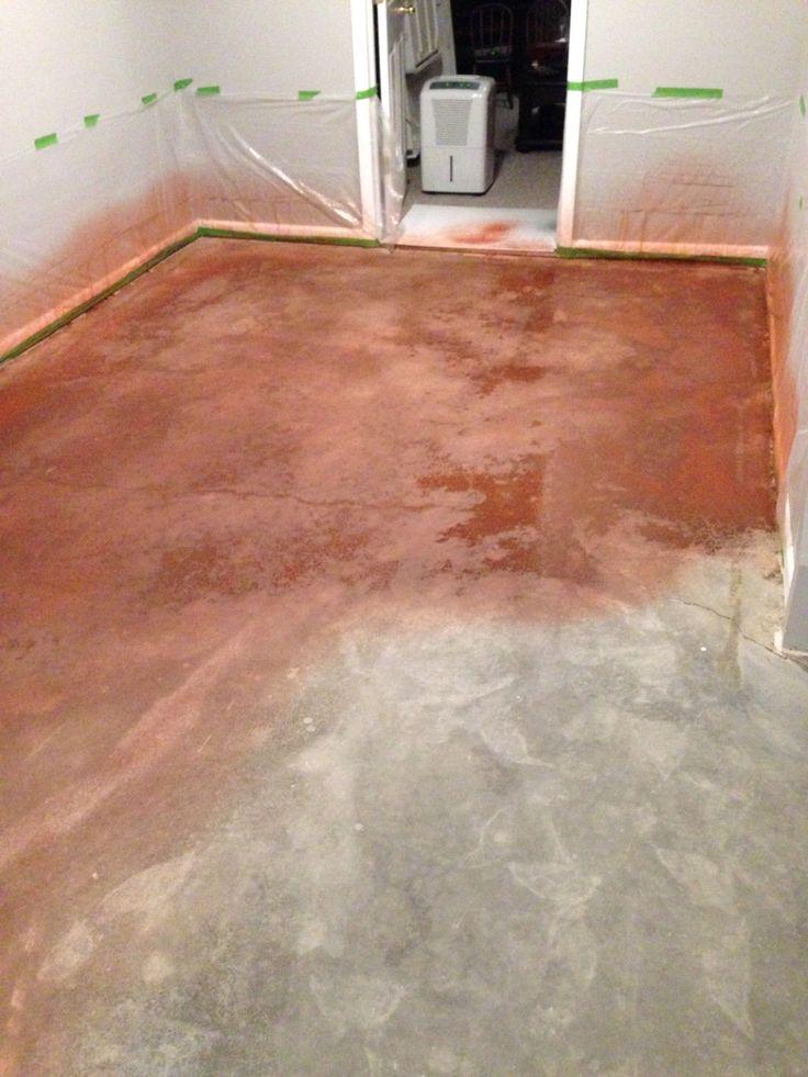 Basement floor process base coat Behr concrete dye Cedar