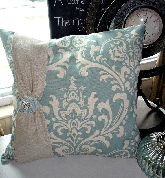Paris Blue French Cottage Damask Decorative Pillow Cover 18 inch