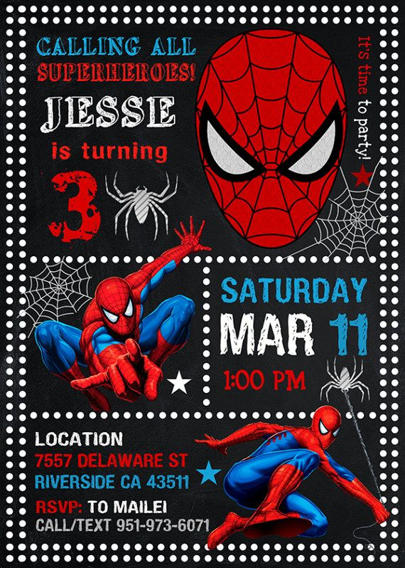 Spiderman Invitation Spiderman Spiderman Party by LeraPrintable