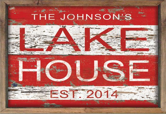 Custom lake house sign personalized lake house by DesignHouseDecor