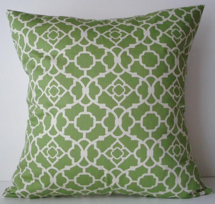 New 18x18 inch Designer Handmade Pillow Case in green and white lattice pattern.. $23.00, via Etsy.  milkandcookies.ca