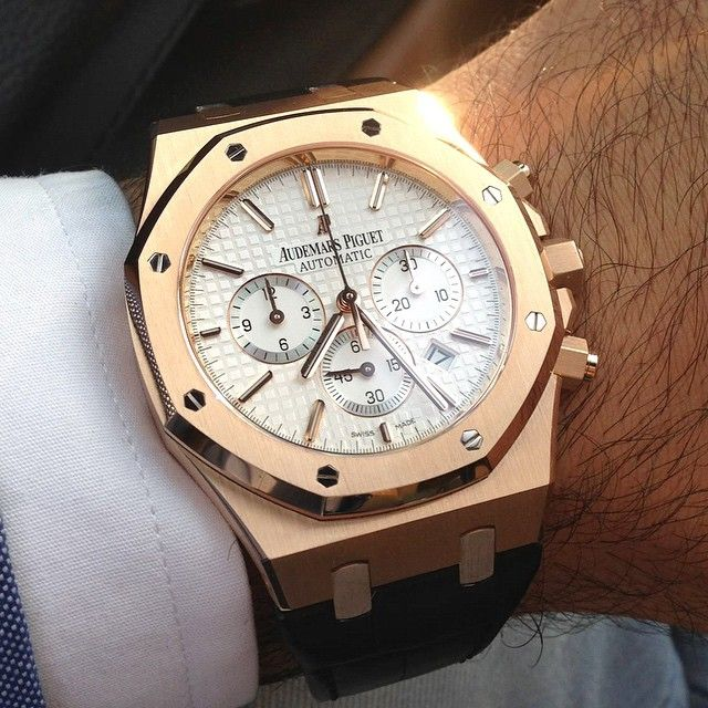 Audemars Piguet - Royal Oak Chronograph, ref.26320BA.OO.1220BA.01 - Self-winding, cal.AP2385, 3Hz, 40hr ,chronograph, date - 41mm, 18kt yellow gold case, silver-toned grande tapisserie dial ~43k