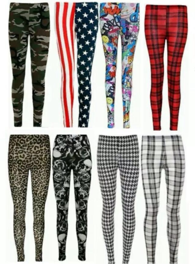 WOMEN/'S LADIES FULL LENGTH CASUAL STRETCH STRIPED PRINT LEGGINGS PLUS SIZE 8-22