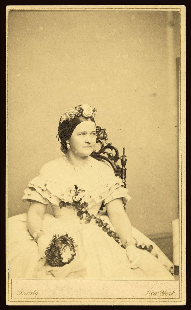 One of the rarer and seldom seen poses of Mary Todd Lincoln. Photographed and Carte de Visite published by Mathew Brady Studio.  *s*