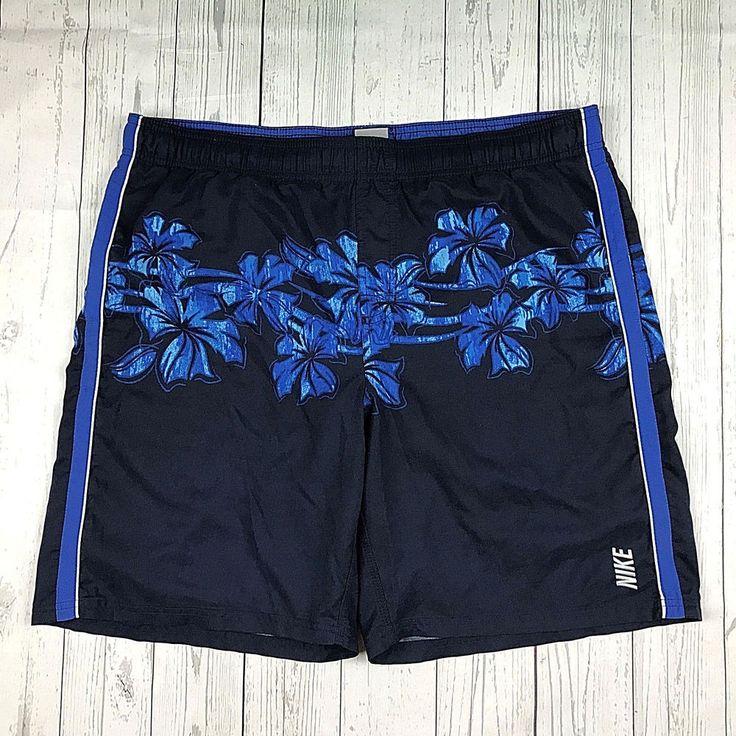 Nike Swim mens size Large blue floral swim trunks shorts swimwear #Nike #Trunks