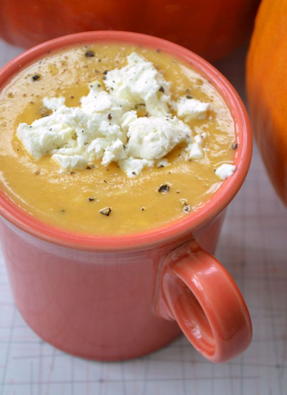 Roasted Pumpkin & Pear Soup with Goat Cheese. Made it with Butternut Squash...SOOOOOO GOOD!!!