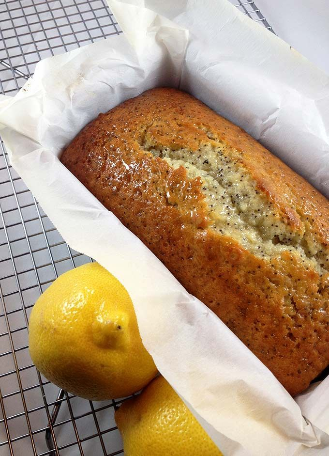 The crackly almond glaze sets this Lemon Poppy Seed Bread recipe apart.
