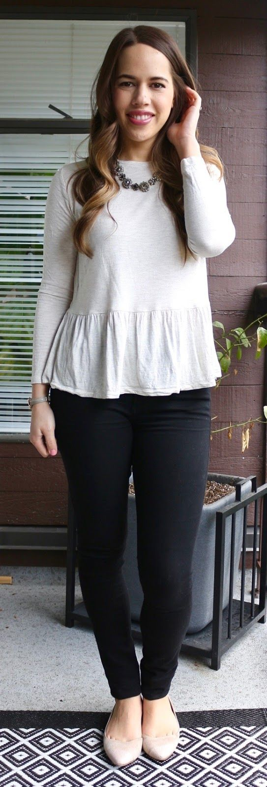 Jules in Flats - Peplum Top and Black Jeans