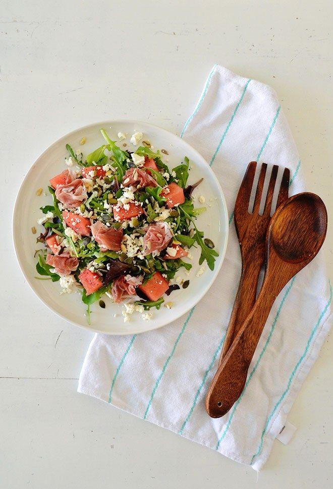 Recept: salade met watermeloen, feta en Parmaham