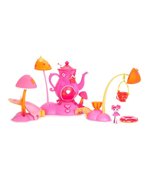 Bring the Lalaloopsy fun to the tub with this water-ready play set. The spinning tea pot boasts heart adornments, while the floating islands house mushrooms that spurt water to make an interactive water slide for darling dolls. Includes exclusive mini Lala-Oopsie doll17'' W x 11.5'' H x 6'' DPlastic