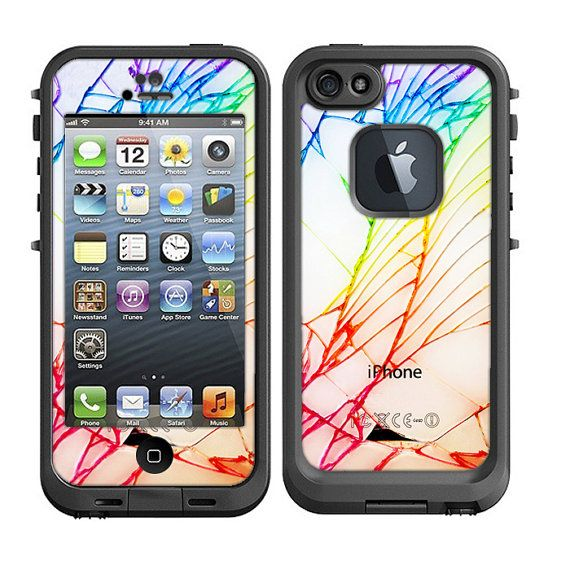 Skins FOR Lifeproof iPhone 5 Case – White iPhone back cracked Shattered look pattern - Free Shipping  - Lifeproof Case NOT included on Etsy, $9.95