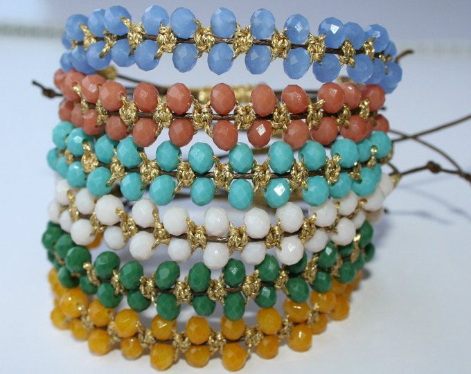 Crystal beads macrame bracelet, beautiful colors and gold color cord, beaded bracelet, crystal bracelet, macrame bracelet