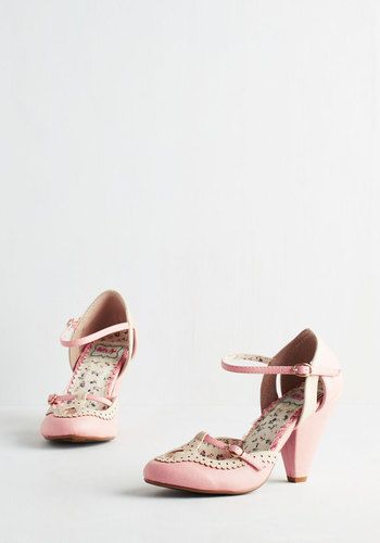 Triple Your Fancy Heel in Bubblegum by Bettie Page - Pink, White, Solid, Cutout, Scallops, Wedding, Daytime Party, Bridesmaid, Vintage Inspired, 20s, Darling, Spring, Better, Pastel, High, As You Wish Sale, Mary Jane, Variation