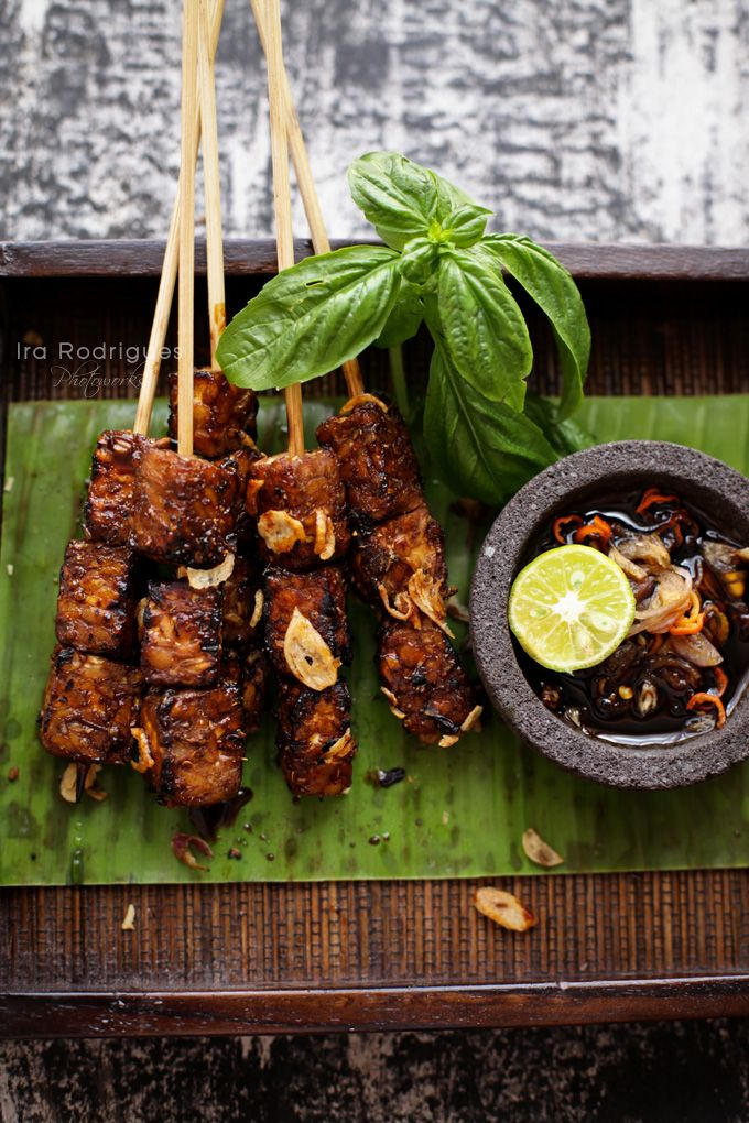Sate Tempe - Indonesian sate tempe serves with spicy sweet sauce