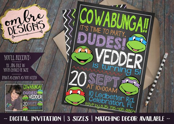 best 25+ ninja turtle invitations ideas on pinterest | ninja, Party invitations