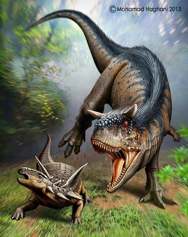 Carnotaurus vs. Antarctopelata. Paleoarte de M. Haghani