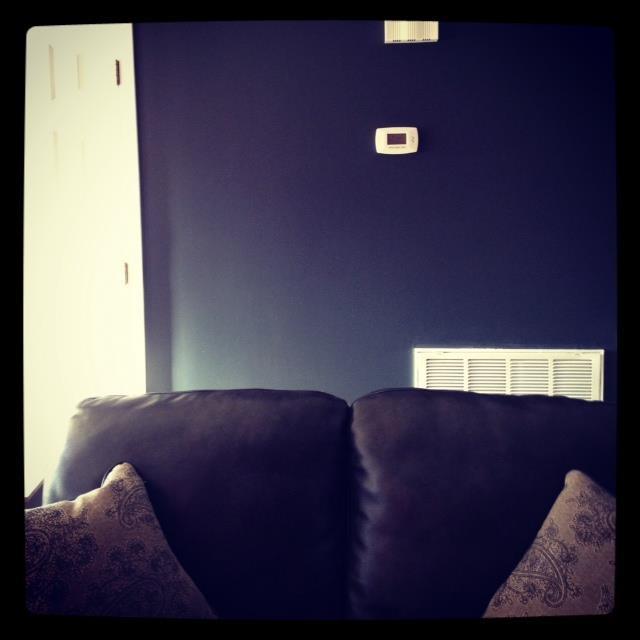 Living Room Accent Wall : Mark Twain Grey Brick Paint
