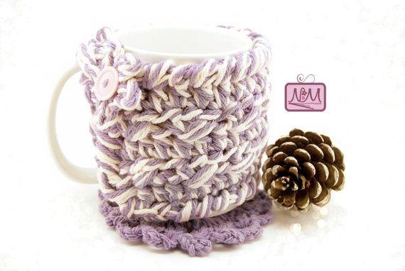 Crochet Purple Coffee Mug Cozy Coffee Mug by NiftyMumzyStudios