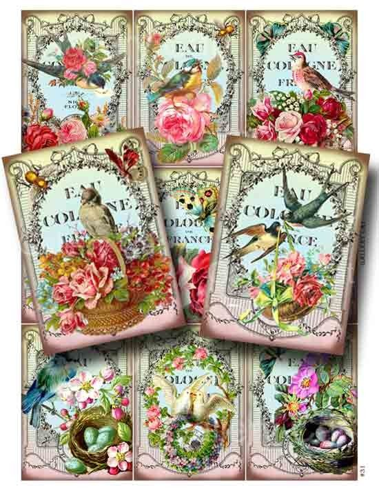 Vintage Birds and Bees Digital Collage Sheet by GalleryCat on Etsy, $3.50