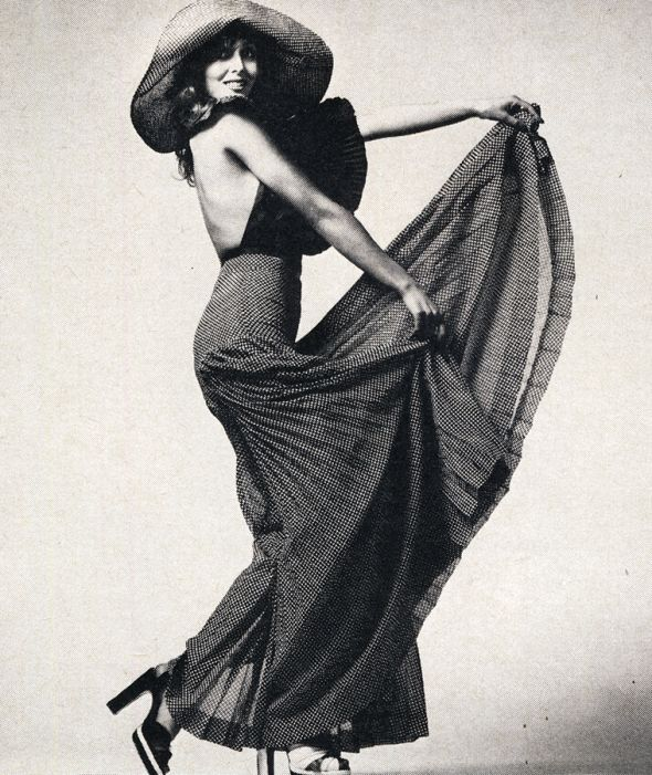 Inspirational Images: Hollywood Revamped - model Kari-Ann wears black taffeta top and pleated dotted culottes by Christopher McDonnell, £35. Hat by George Malyard. Shoes by Terry de Havilland, exclusive to Marrian McDonnell / Photographed by Richard Imrie / Scanned by Miss Peelpants from Cosmopolitan, May 1972.