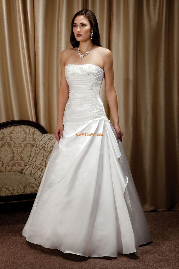 Inverterad Triangel Glamorös & Dramatisk Ärmlös Lyx Bröllopsklänningar