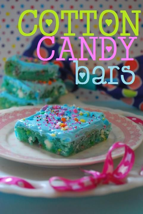 Cotton Candy Bars    1 box Funfetti cake mix  2 eggs  1/2 cup oil  2 pkts Duncan Hines Cotton Candy Recipe Creations Flavor Mix  1 cup white chocolate chips  1 can vanilla frosting (or accompanying Duncan Hines Starter Kit Icing)  Sprinkles    ----  GOTTA DO IT. - Click image to find more DIY & Crafts Pinterest pins