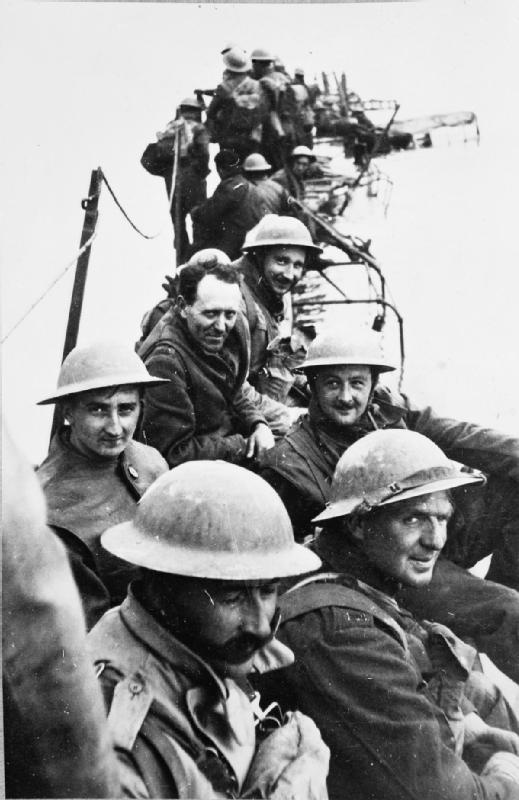 Officers of the Royal Ulster Rifles awaiting evacuation at Bray Dunes near Dunkirk, May 1940.