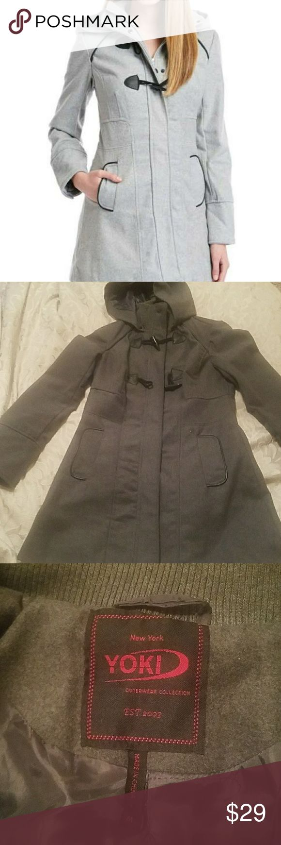 YOKI coat Dark gray ladies coat by Yoki, lined, detachable hood,zipper and buttons down the front, 3 buttons on each sleeve, 2 closures at top, accepting all reasonable offers, bundle for discounts Yoki Jackets & Coats