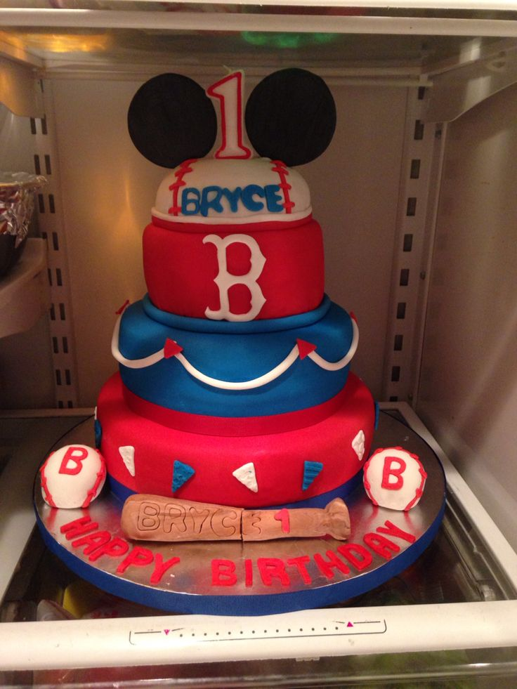 Mickey ears baseball with red and blue layers. Birthday cake