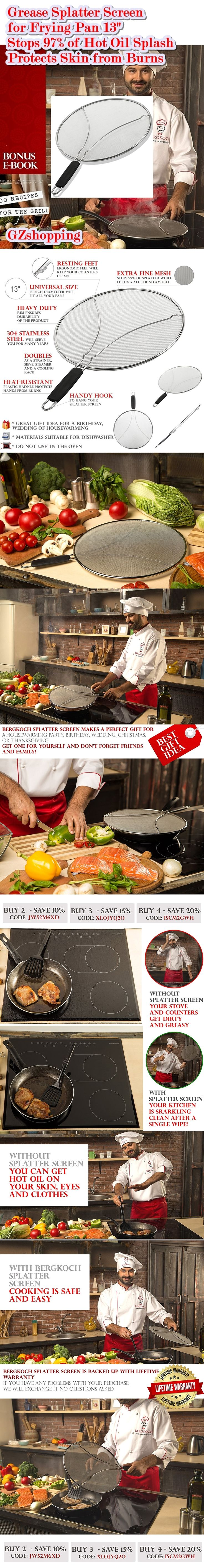 Universal size easy-to-clean multiuse grease guard: The diameter of this premium splatter screen for frying pans is 13 inches, so it will fit all your pots, skillets and pans. This multipurpose kitchen tool also doubles as a strainer, steamer, and a cooling rack and stores easily in narrow spaces - Easy to clean – Rustproof - Dishwasher safe