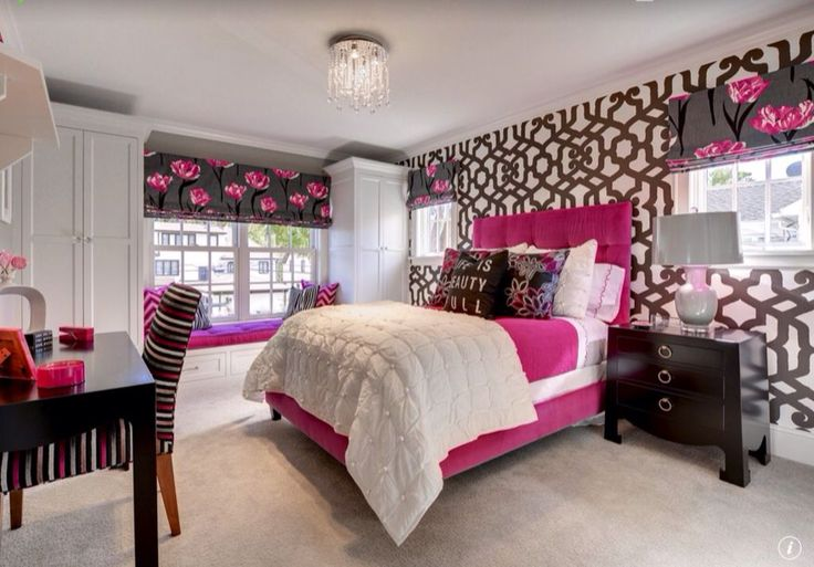 Eclectic Kids Bedroom with Hot Pink Black Chevron Zig Zag Pattern, Surya ceramic ball table  lamp, Dahlia Flowers Black Pink