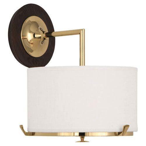 Edwin Polished Brass And Dark Walnut One Light Sconce Robert Abbey 1 Light