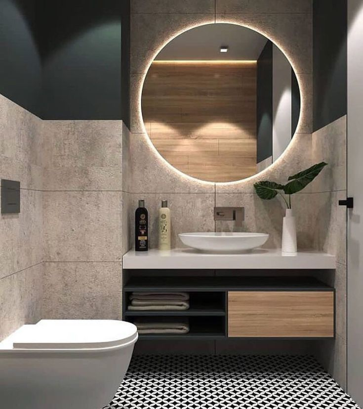 The Mirror Lighting Is Just Amazing Do You Like The Concrete W Bahtroom Ideas 2019 Top Bathroom Design Gorgeous Bathroom Designs Modern Bathroom