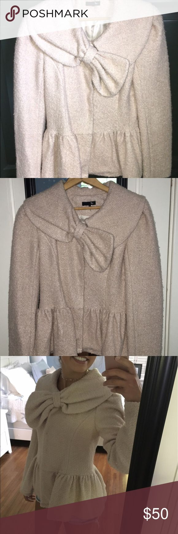 Cream bow coat! Adorable bow neckline coat. Flounce ruffle trim around bottom. Very warm and comfy. One snap button is missing as shown in pics. Hard to tell when on. Can also fit small. Jackets & Coats