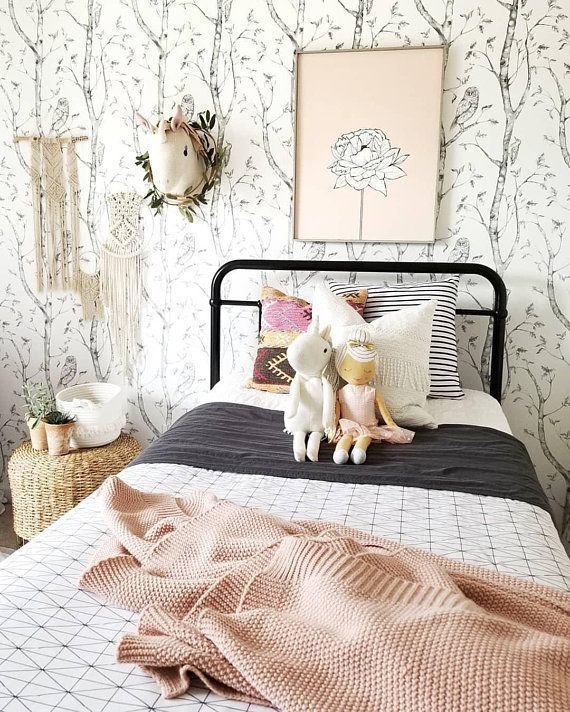 Peel And Stick Birds In The Woods Nursery Kids Wallpaper Nu1412 Girl Room Girls Bedroom Bedroom Vintage