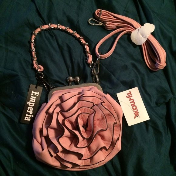 Rose purse with cross body strap- new with tags! The definition of cute! New with tags- perfect for a day/night out- make me an offer! Bags Crossbody Bags
