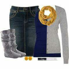 Blue Tank, Light Gray Sweater, Yellow Scarf, Gray Boots, Short Jean Skirt. Outfit