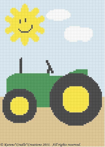 Crochet Patterns Farm Tractor Afghan Pattern Easy | eBay