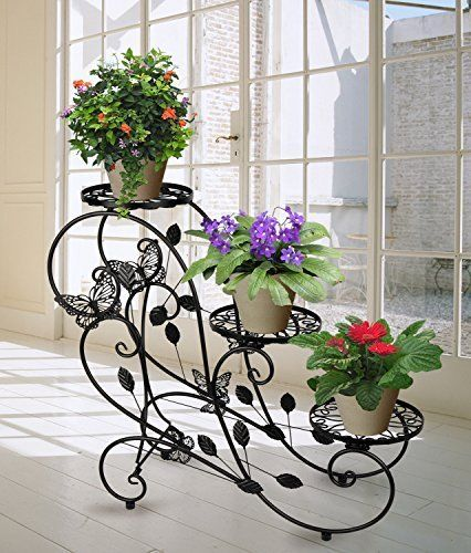 Classic-Plant-Stand-Shelf-Holds-3-flower-Pot-Black-Garden-and-Home-Decor-New