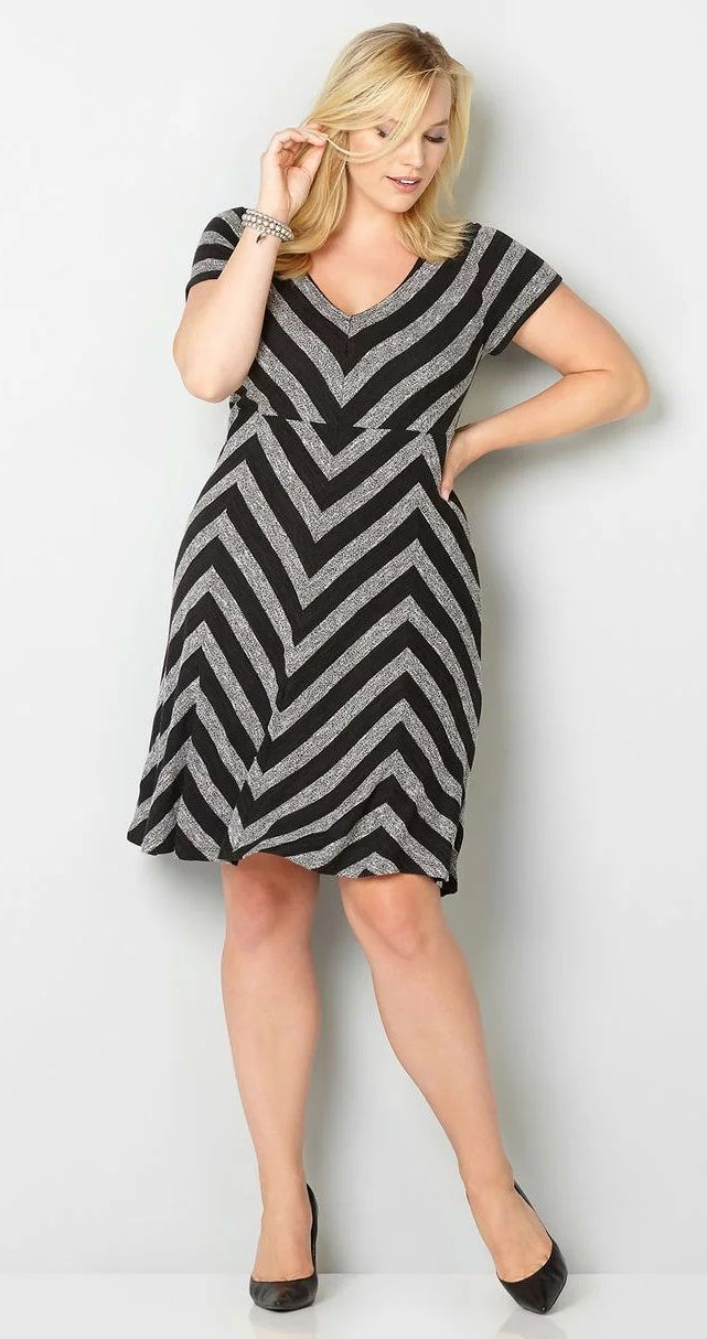 Plus Size Chevron Skater Dress