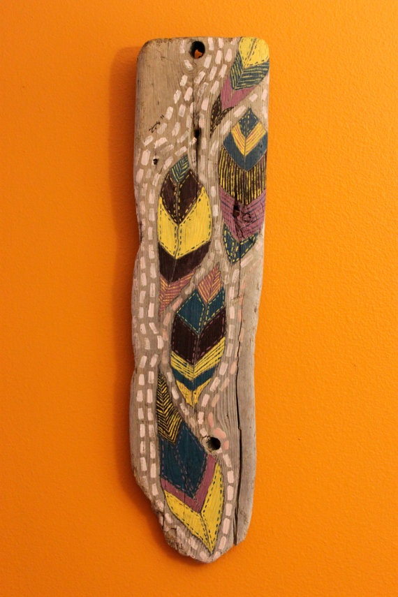 feathers painted on driftwood | Craft Ideas | Pinterest ...