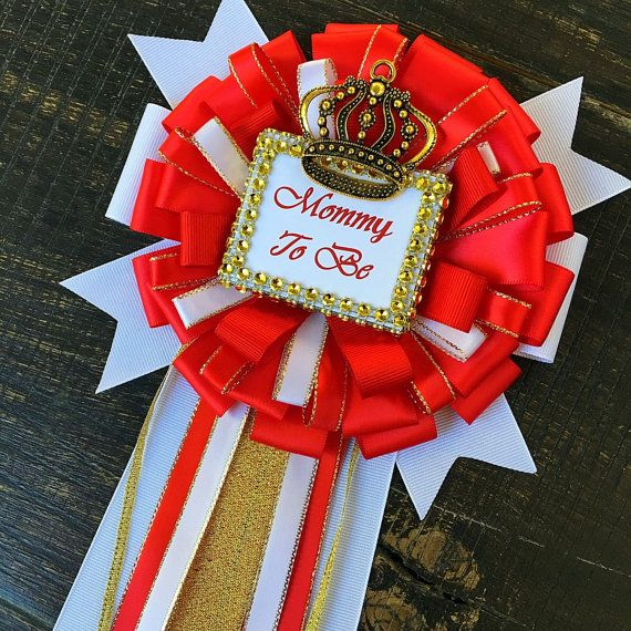 Little Prince Baby Shower Mommy To Be Pin   Little Prince Corsage  Royal  Prince Baby Shower  Red And Gold Baby Shower  Red Royal Prince