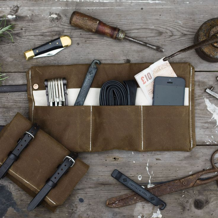 Waxed Canvas Bike Tool Roll - Khaki - The Future Kept - 2