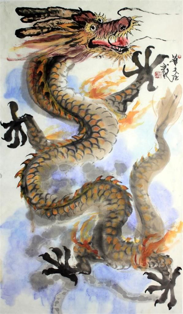 chinese brush painting dragon - Google Search