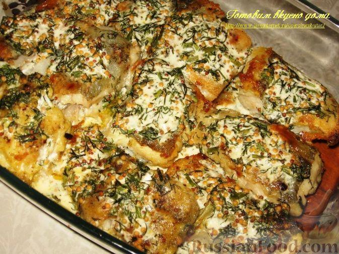 Фото приготовления рецепта: Треска в горчично-сливочном соусе - шаг №4
