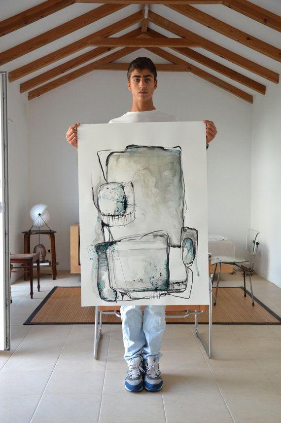 Large size-Original Abstract Art Drawing-Black. blue,grey, white,modern,structure,minimal,ink dark, art ink, movement,geometric, wall decor
